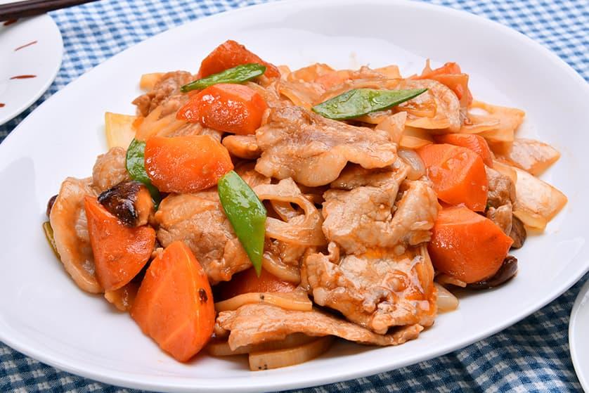 ロース肉と野菜の甘酢風炒め